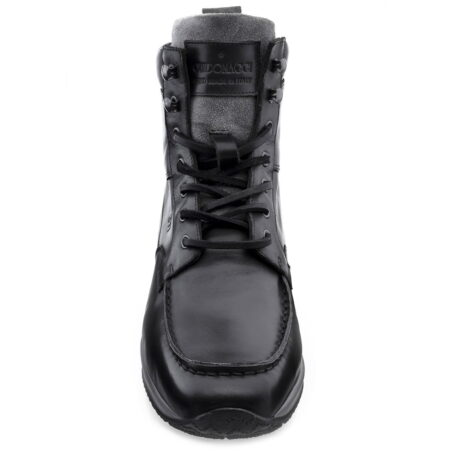 black leather high cut sneakers 2