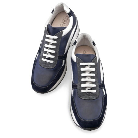 Sneaker in pelle color blu brunito