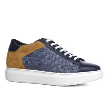 Leder- und Wildleder-Sneakers mit Absatz