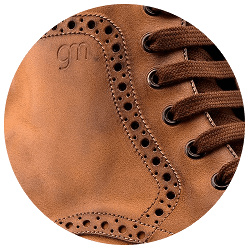 detail brown leather brogue shoe - Guidomaggi Switzerland
