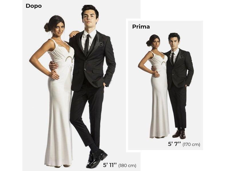 Confronto di statura tra due modelli indossando le scarpe rialzanti guidomaggi