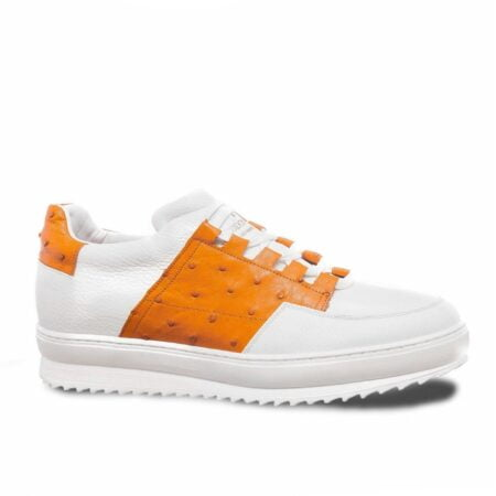 white sneakers with details in orange osctrich leather 1