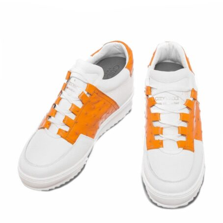 white sneakers with details in orange osctrich leather 2