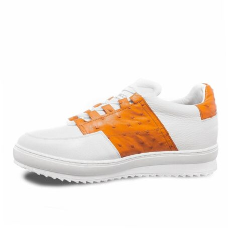 white sneakers with details in orange osctrich leather 3