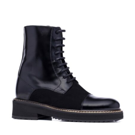 black shiny boots with black suede tongue 1