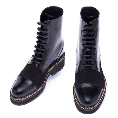 black shiny boots with black suede tongue 2
