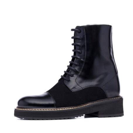 black shiny boots with black suede tongue
