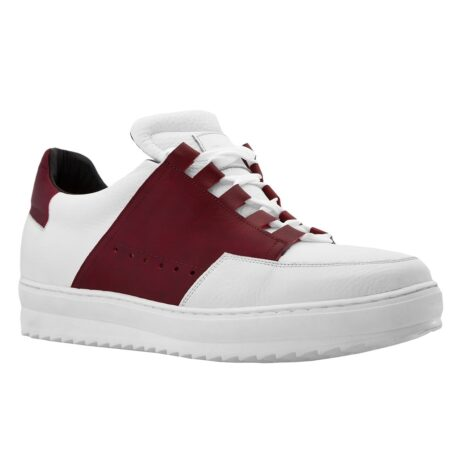 Man wearing white and red elevator sneakers 1