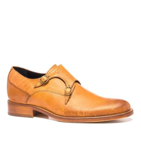 double buckle shoes in cognac leather 1
