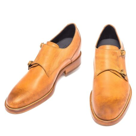 double buckle shoes in cognac leather 2