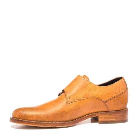double buckle shoes in cognac leather 3
