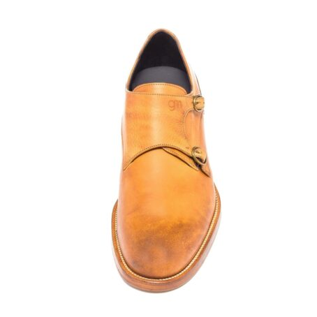double buckle shoes in cognac leather 4