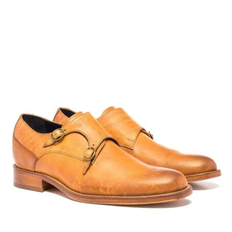 double buckle shoes in cognac leather 5