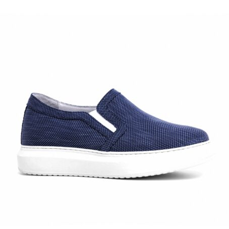 blue slip-ons in blue technic fabric 1