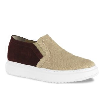 slip-ons burgundy suede on back and natural sand raffia on front 1