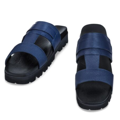 blue leather sandals with eleveted outsole 2