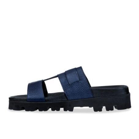blue leather sandals with eleveted outsole 3