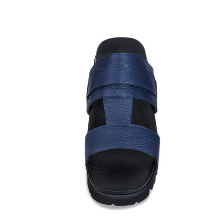 blue leather sandals with eleveted outsole 4