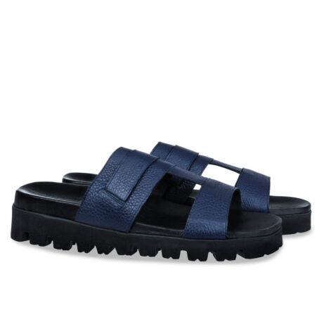 blue leather sandals with eleveted outsole 5