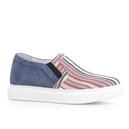 slip-ons made of striped fabric and suede leather at the back 1
