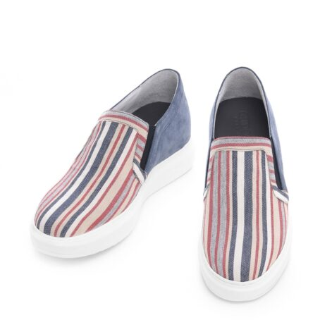 slip-ons made of striped fabric and suede leather at the back 2