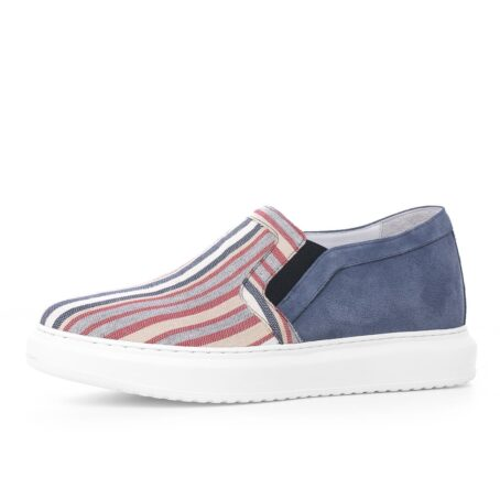 slip-ons made of striped fabric and suede leather at the back 3