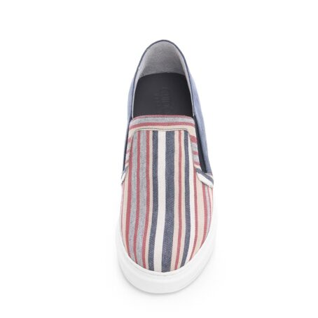 slip-ons made of striped fabric and suede leather at the back 4