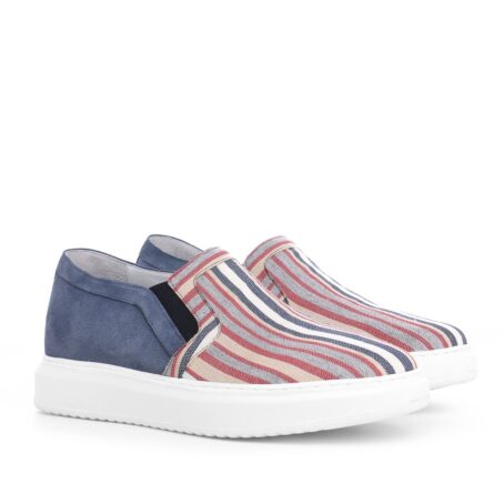 slip-ons made of striped fabric and suede leather at the back 5