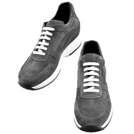 grey suede sneakers with white cotton laces 2