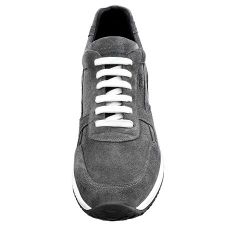 grey suede sneakers with white cotton laces 4