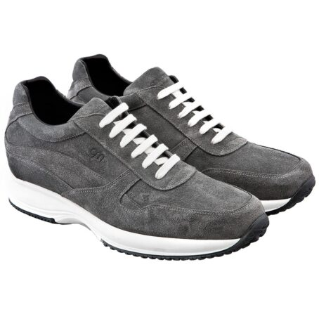 grey suede sneakers with white cotton laces 5
