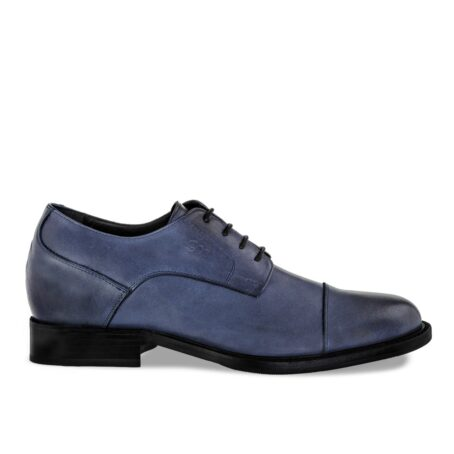 derby dress shoes in coral blue colour with black shades 1