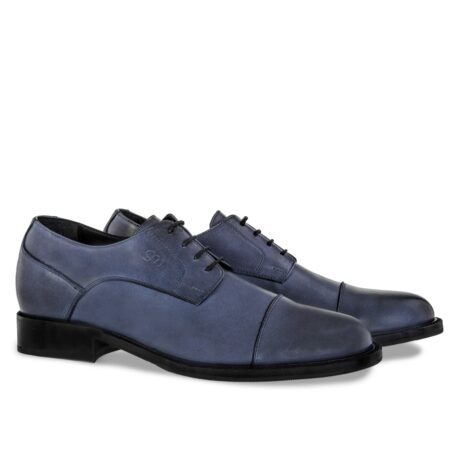 derby dress shoes in coral blue colour with black shades 5