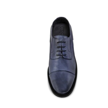 derby dress shoes in coral blue colour with black shades 3