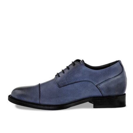 derby dress shoes in coral blue colour with black shades