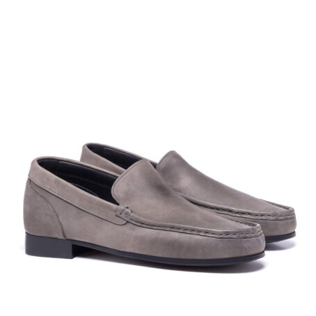 grey mocassini in soft leather 5