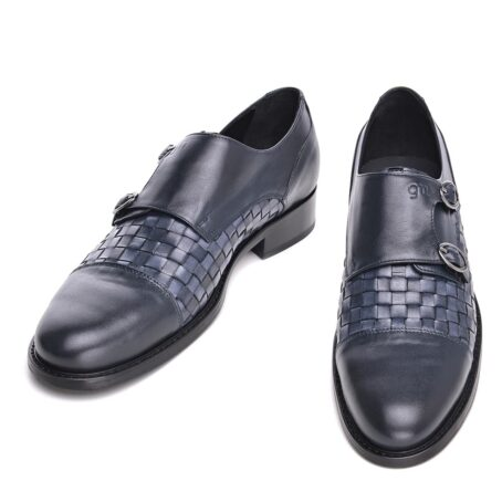 double buckle shoes with blue leather