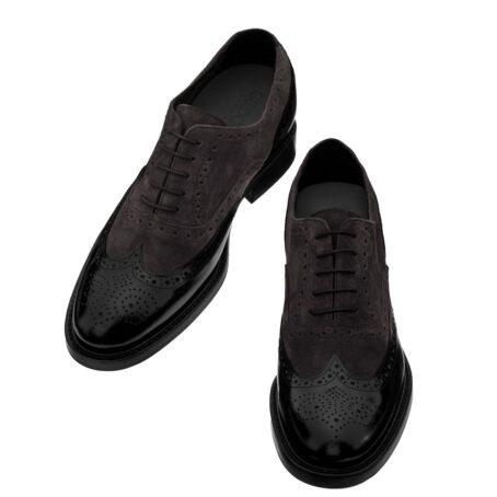 dark suede oxford shoes wingtip brogue 2