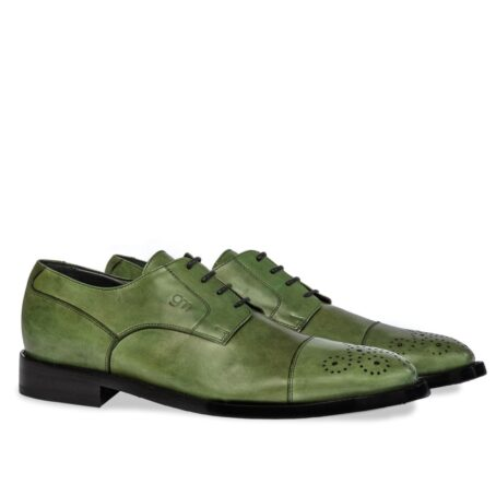 classic oxford shoes in green shades leather with floral brogue decorations on tip 5