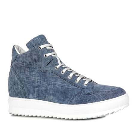 sneakers in light blue suede with denim effect 1