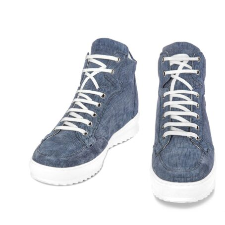 sneakers in light blue suede with denim effect 2
