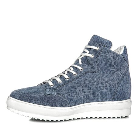 sneakers in light blue suede with denim effect 3