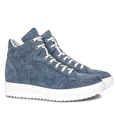 sneakers in light blue suede with denim effect 5