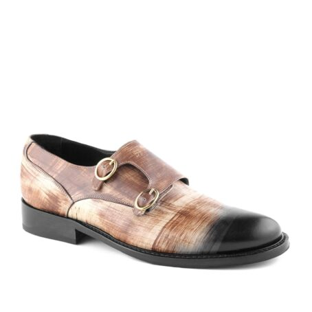 double-buckle shoes in brown patina technique 1