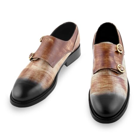 double-buckle shoes in brown patina technique 2