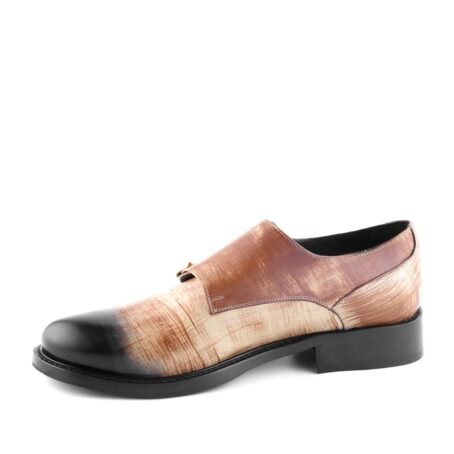 double-buckle shoes in brown patina technique 3