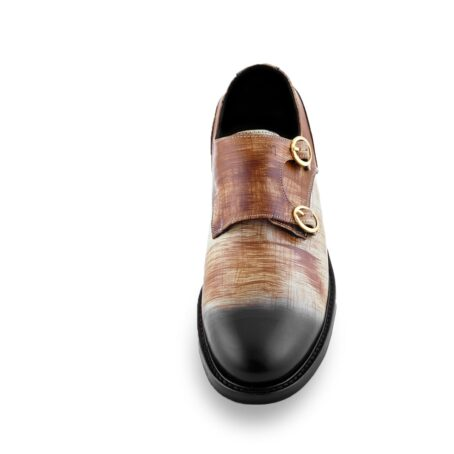 double-buckle shoes in brown patina technique 4