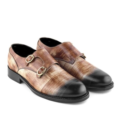 double-buckle shoes in brown patina technique 5
