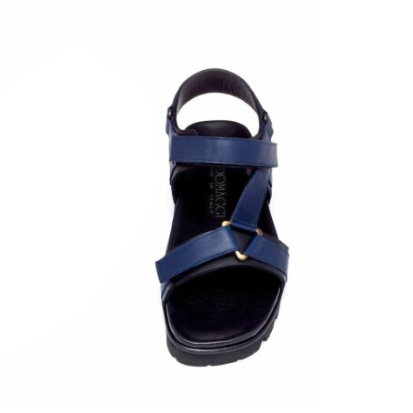 blue leather sandals for man