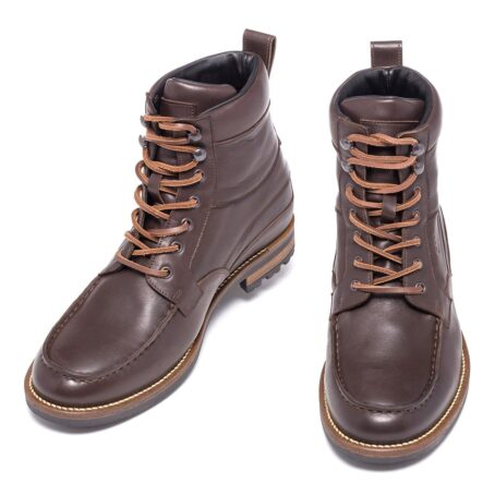 boots in dark brown leather with western style 2